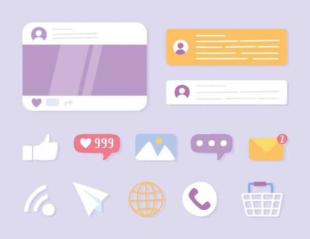 Sistema e tecnologie di comunicazione sui social network, telefono, condivisione, messaggio, chat, immagine, wifi e altre icone di app