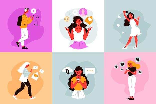 Composizione di social network con illustrazioni quadrate di personaggi umani che utilizzano la messaggistica online su smartphone