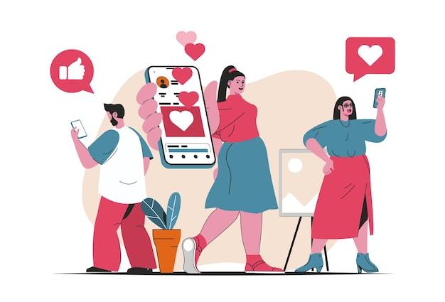 Concetto di rete sociale isolato. gli utenti dei social media chattano, mettono mi piace, pubblicano nell'app mobile. scena di persone nel design piatto del fumetto. illustrazione vettoriale per blog, sito web, app mobile, materiale promozionale.