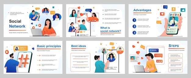 Concetto di social network per modello di diapositiva di presentazione le persone sfogliano i feed seguono i profili degli amici