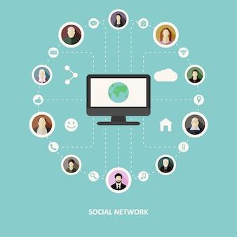 Concetto di rete sociale Vettore Premium