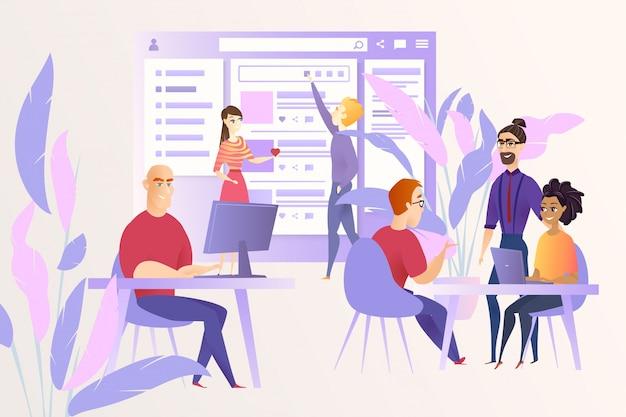 Concetto di vettore del fumetto di sviluppo della rete sociale