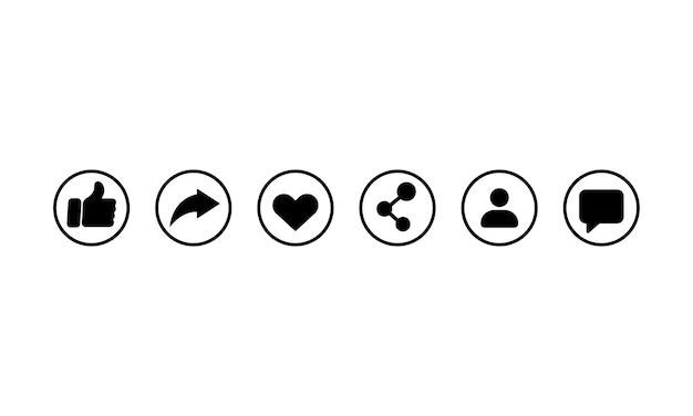Icona della rete sociale impostata in nero. mi piace, condividi, cuore, segui, segno di messaggio. vettore env 10. isolato su priorità bassa bianca.