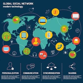 Modello di infografica social network con mappa del mondo