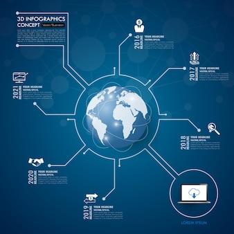 Infographics di rete sociale con set di icone. illustrazione.