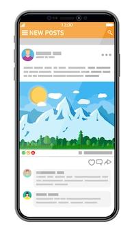 Modello di interfaccia di rete sociale sullo schermo dello smartphone