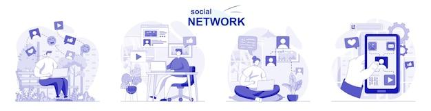 Social network isolato impostato in design piatto persone che chattano con gli amici che sfogliano le foto dei post