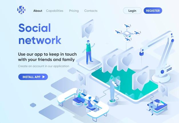 Pagina di destinazione isometrica dei social network. comunicazione online con amici e familiari, condivisione di contenuti sui social media. modello di messaggistica per cms e generatore di siti web. scena isometrica con personaggi di persone
