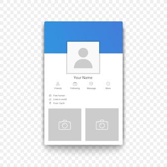 Modello di profilo di app mobile di social network sullo sfondo alfa transperante