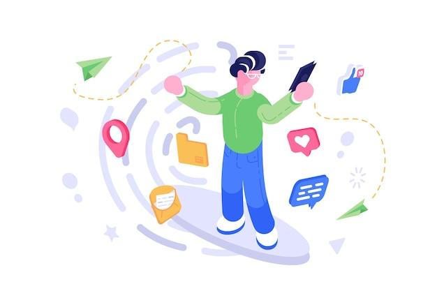 Illustrazione di comunicazione del telefono cellulare della rete sociale