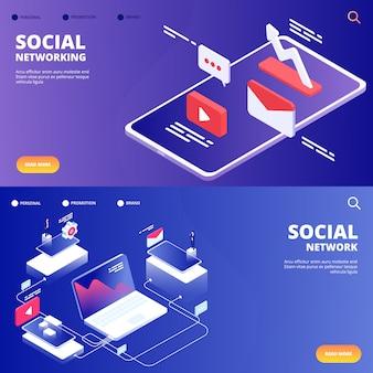 Pagine di destinazione di social network e networking