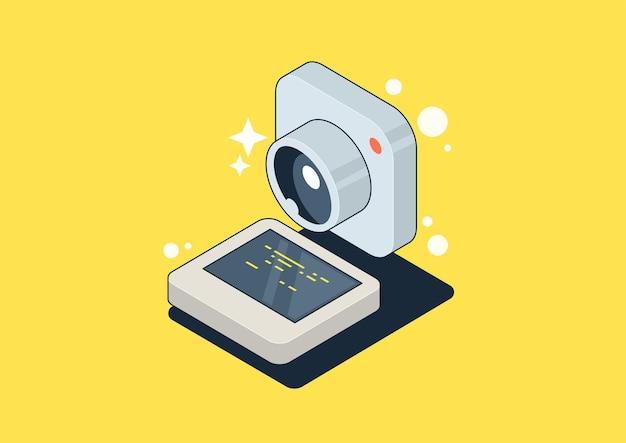 Cornice per foto di social network. isometria 3d mobile, concetto di app per gallerie fotografiche.