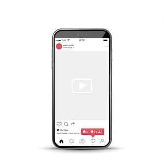 Modello mobile cornice foto di rete sociale