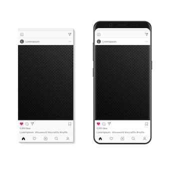 Post foto di rete sociale sullo schermo dello smartphone. compositore di cornici per foto di social media