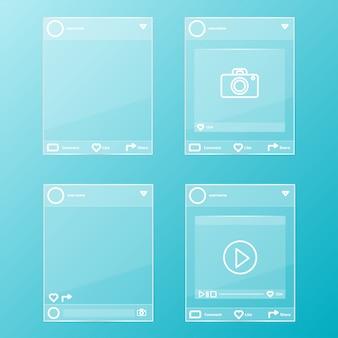 Set di cornici di vetro post social network