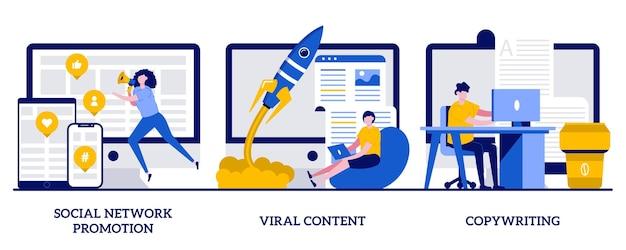 Promozione sui social network, contenuti virali, concetto di copywriting con persone minuscole. tipi di marketing digitale impostati. smm, metafora della pubblicità online dell'influencer.