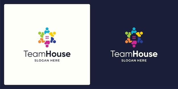 Social network team logo design vettoriale e logo di costruzione di case.