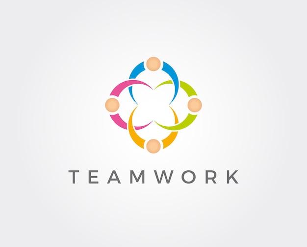 Social network team partner friends logo design vector
