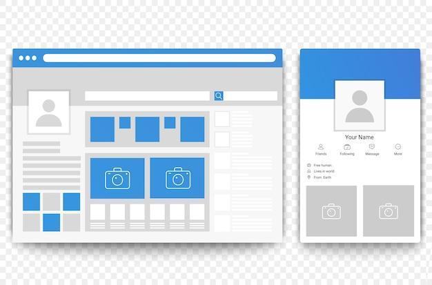 Web di social network e browser di pagine per dispositivi mobili. concetto di illustrazione dell'interfaccia della pagina sociale