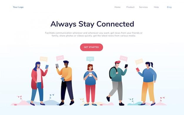 Pagina di destinazione del concetto di social network