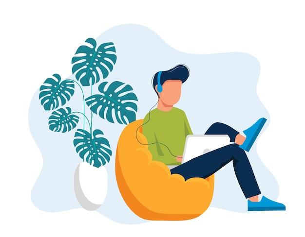 Illustrazione di social networking. uomo con le cuffie utilizzando laptop