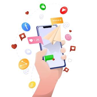Social network e applicazioni, mano che tiene il telefono, isolato