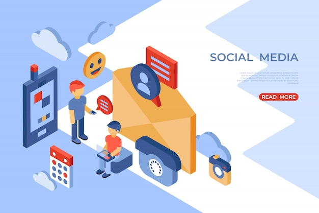 Social network e landing page isometrica del cellulare
