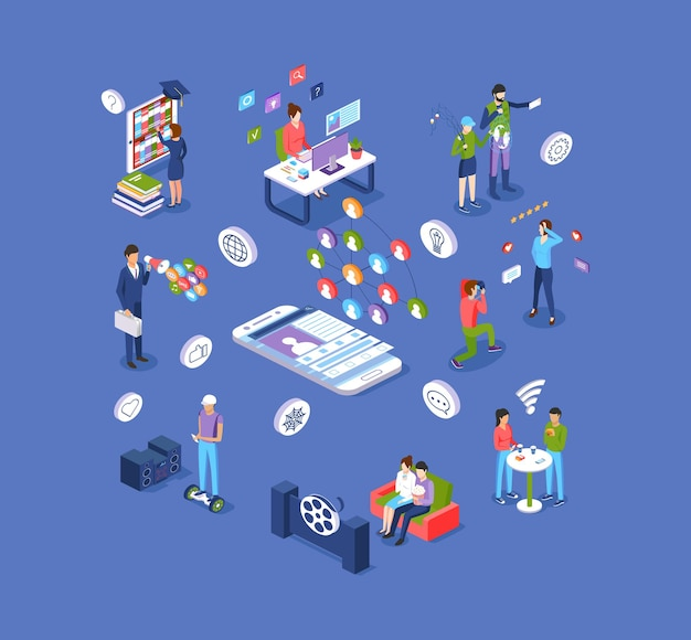 Reti sociali e set isometrico di intrattenimento digitale moderno. le persone usano l'applicazione elettronica di realtà virtuale su internet, guardano film, chattano, studiano online, cartoni animati promozionali di marketing