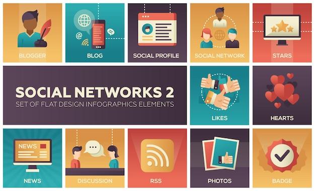 Reti sociali - set moderno di elementi di infografica design piatto. immagini quadrate colorate di blogger, blog, profilo, stelle, mi piace, cuori, notizie, discussioni, rss, foto, badge