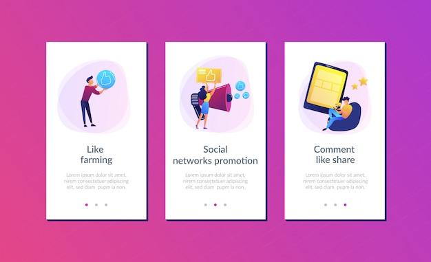 Modello di interfaccia per app di promozione delle reti sociali Vettore Premium