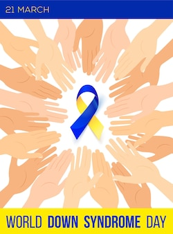 Manifesto sociale giornata mondiale della sindrome di down. nastro della consapevolezza.