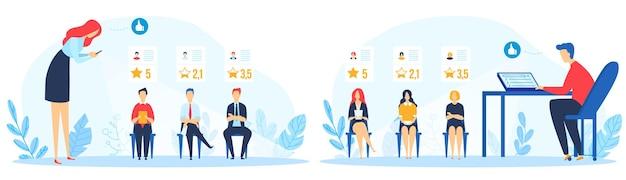 Insieme dell'illustrazione di reclutamento di valutazione sociale.