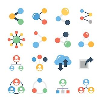 Pack di icone di linea di condivisione sociale