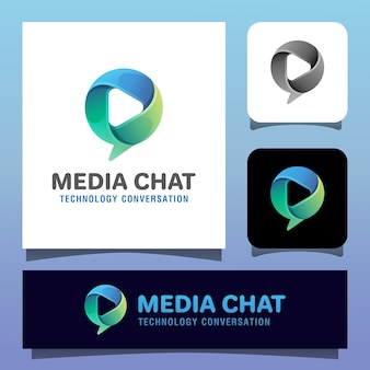 Modello di logo di vettore di app di conversazione sociale. bolla di chat con icona multimediale simbolo di riproduzione