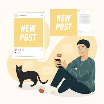 Illustrazione di concetto di aggiornamento sociale