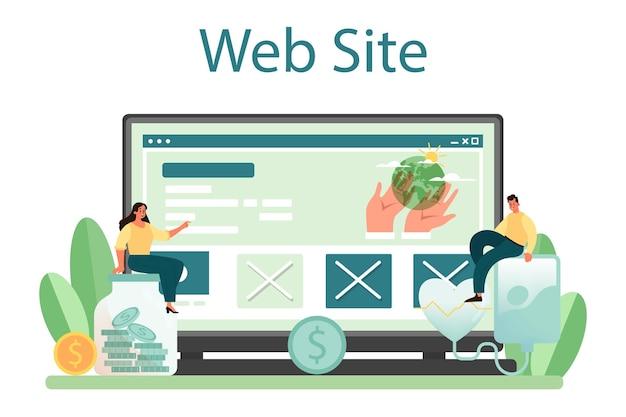 Servizio o piattaforma online di volontariato sociale. sito web. illustrazione vettoriale piatta