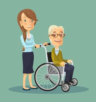 Assistente sociale che passeggia con un uomo anziano in sedia a rotelle