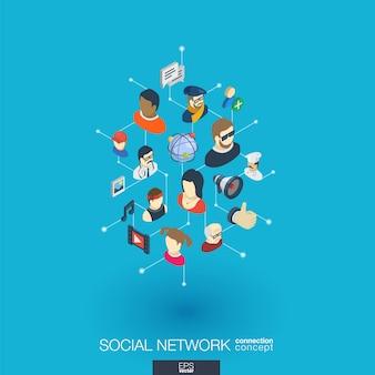 Icone web integrate nella società. concetto di interazione isometrica rete digitale. sistema grafico di punti e linee collegato. sfondo astratto per social media, comunicazione persone. infograph