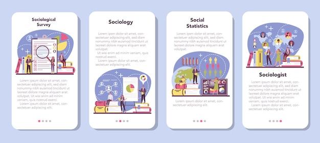 Set di banner per applicazioni mobili di sociologo