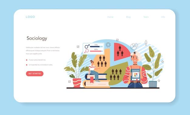 Banner web di materia scolastica di sociologia o pagina di destinazione studenti che studiano la società