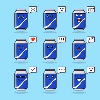 Lattine di soda simpatica collezione di personaggi mascotte