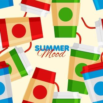 Bicchieri per bevande gassate con motivo a paglia senza cuciture summer mood summer