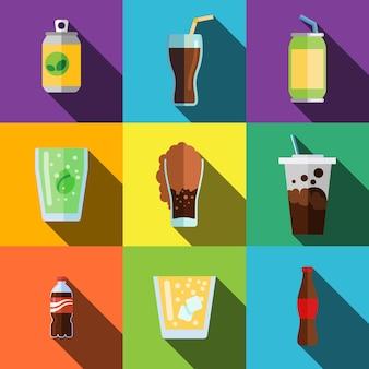 Le icone piane di bevande gassate impostano gli elementi, le icone modificabili, possono essere utilizzate nel logo, nell'interfaccia utente e nel web design