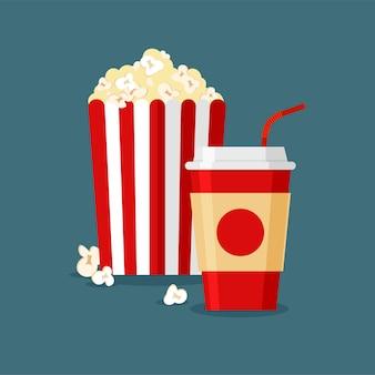 Bibita gassata e popcorn nella classica scatola di cartone bianca rossa a strisce isolata