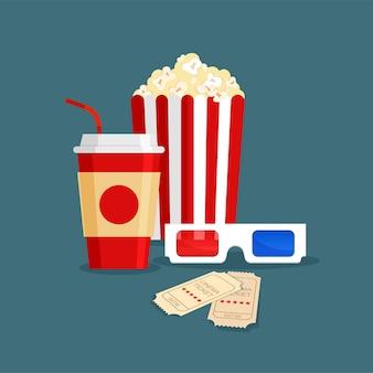 Bevanda gassata, popcorn nella classica scatola di cartone bianca rossa a strisce, biglietti e occhiali 3d in stile cartone animato
