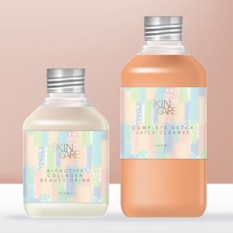 Bottiglia di plastica trasparente per bibite o succo con tappo a vite argento metallico. pastello astratto avvolgere il design dell'etichetta.