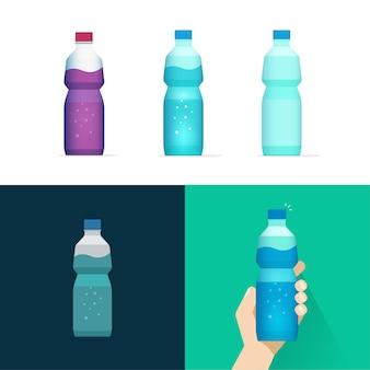 Insieme isolato di vettore della bottiglia dell'acqua minerale della soda con la bevanda della bevanda della limonata del succo