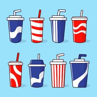 Collezione di concetto di tazza di carta soda