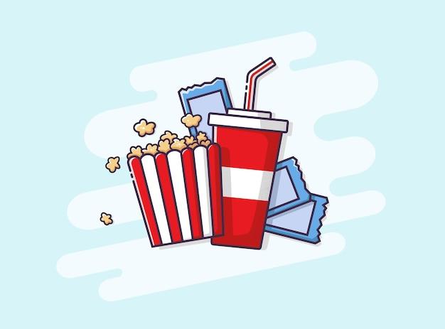 Soda, popcorn e biglietti del cinema. illustrazione piana di vettore.