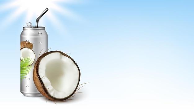 Acqua soda con il gusto di cocco copia spazio vector